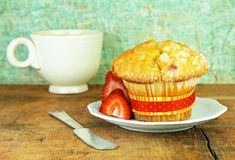 Cranberry Muffin On a Rustic Wood Table Stock Images