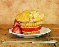 Cranberry Muffin On White Plate Stock Photos