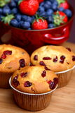 Cranberry muffins with bowl of fruit Stock Images