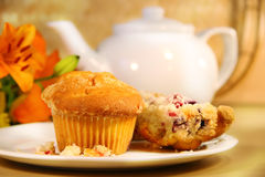 Cranberry muffins for breakfast royalty free stock photography