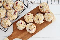 Cranberry Muffins on Cutting Board. Fresh cranberry muffins cooling on a bakers rack and a wood cutting board over a rustic white table background. Image shot stock photography