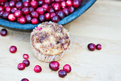 Cranberry muffins with fresh cranberries Royalty Free Stock Photos