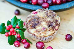 Cranberry muffins with holly Royalty Free Stock Photo