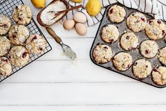 Cranberry Muffins with Lemon Zest. Cranberry Muffins in a muffin tin with fresh eggs, sugar, lemons and lemon zest over a rustic white table background. Image stock images
