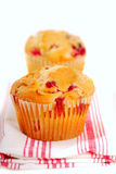 Cranberry muffins on napkin Royalty Free Stock Images