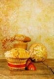 Cranberry Muffins On a Rustic Wood Table Stock Photo