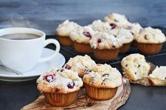Cranberry Muffins with Hot Coffee. Cranberry Muffins on a wood cutting board with more cooling on a bakers rack. Extreme shallow depth of field with selective royalty free stock photography