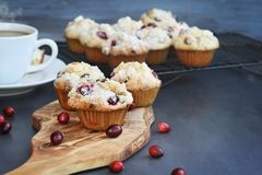 Homemade Cranberry Muffins with Hot Coffee. Cranberry Muffins on a wood cutting board with more cooling on a bakers rack. Extreme shallow depth of field with stock photos