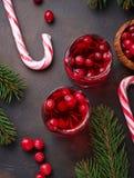 Cranberry napój i świeże jagody Obrazy Stock