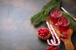 Cranberry napój i świeże jagody Zdjęcie Royalty Free