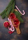 Cranberry napój i świeże jagody Fotografia Royalty Free