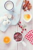 Cranberry orange cake ingredients Royalty Free Stock Images