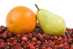 Cranberry, Orange and Pear. Fresh Cranberries, Navel Orange and Bartlett Pear Stock Photo
