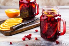 Cranberry and orange summer sangria with cranberry and oranges Stock Photography