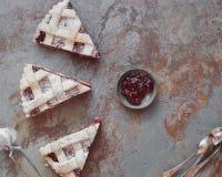 Cranberry pie slice with lattice top Stock Photo
