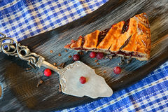 Cranberry pie. On a textured cutting Board Stock Image