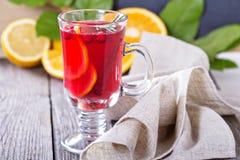 Cranberry pomarańczowy poncz z cynamonem Zdjęcie Royalty Free