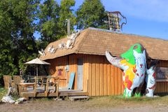 Northern Buffalo Sculptures, Cranberry Portage, Manitoba stock photo
