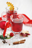 Cranberry punch with Christmas decoration Stock Photos