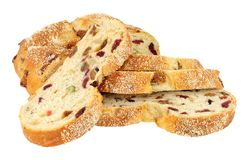 Cranberry, Raisin And Cashew Nut Bloomer Loaf. Cranberry, raisin and cashew nut bloomer bread loaf isolated on a white background Royalty Free Stock Image