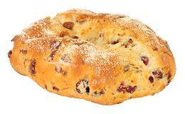 Cranberry, Raisin And Cashew Nut Bloomer Loaf. Cranberry, raisin and cashew nut bloomer bread loaf isolated on a white background Royalty Free Stock Photo