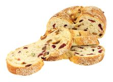 Cranberry, Raisin And Cashew Nut Bloomer Loaf. Cranberry, raisin and cashew nut bloomer bread loaf isolated on a white background Stock Photography