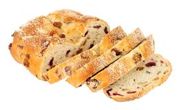 Cranberry, Raisin And Cashew Nut Bloomer Loaf. Cranberry, raisin and cashew nut bloomer bread loaf isolated on a white background Royalty Free Stock Images