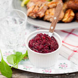 Cranberry Red Onion Sauce Stock Photography