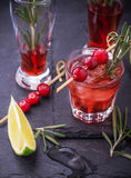 Cranberry, rosemary, gin fizz, cocktail on a white Stock Photography