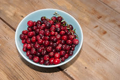 Cranberry on rustical wooden table Stock Images