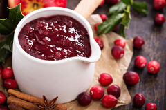 Cranberry sauce in ceramic saucepan Stock Photography