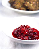 Cranberry sauce and Christmas stuffing Royalty Free Stock Photography