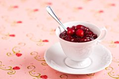 Cranberry sauce in a cup Stock Photo