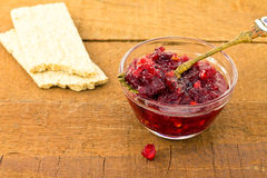 Cranberry sauce in a glass Royalty Free Stock Photography