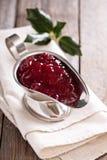 Cranberry sauce in metallic dish Royalty Free Stock Photo
