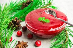 Cranberry sauce with mint and ready to eat with spoon. Over grey background Royalty Free Stock Image