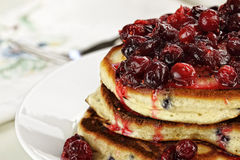 Cranberry Sauce over Fresh Pancakes Stock Image