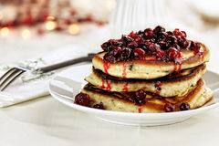 Cranberry Sauce over Pancakes Stock Photography