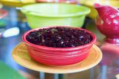 Cranberry Sauce in Red Bowl Closeup Royalty Free Stock Photography