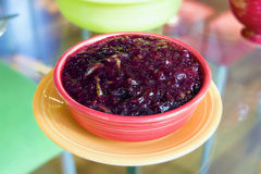 Cranberry Sauce in Red Bowl Stock Image