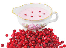 Cranberry sauce in a sauce-boat Stock Images
