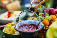 Cranberry sauce on table full of fresh fruits. Catering outdoor Stock Images