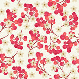 Cranberry seamless pattern. Seamless pattern with branches of red cranberries and white flowers on light gray background Royalty Free Stock Photos