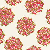 Cranberry seamless pattern. Seamless pattern with bushes of red cranberries on light cream background Stock Image