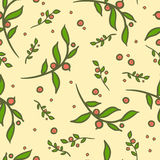 08_cranberry_seamless_pattern. Hand-drawn floral and berries seamless pattern Royalty Free Stock Images