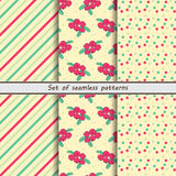 Cranberry, a set of seamless patterns Royalty Free Stock Photo
