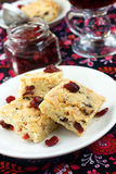 Cranberry shortbread. Cranberry and lemon shortbread with tea Stock Photos