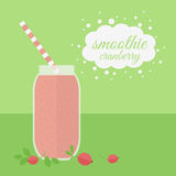 Cranberry smoothie in jar on a table Stock Image