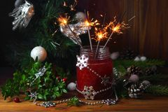 Cranberry smoothie z sparklers Zdjęcia Stock