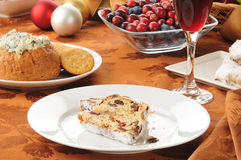 Cranberry stollen with wine Royalty Free Stock Photography